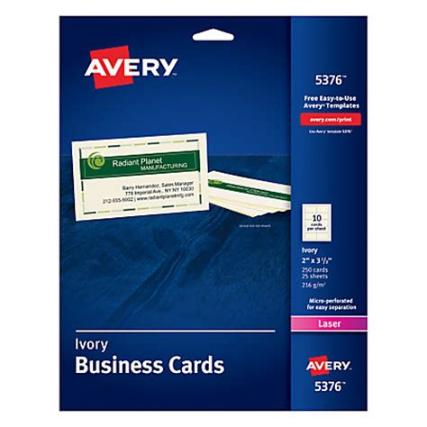 avery laser microperforated business cards 2 x 3 12 ivory