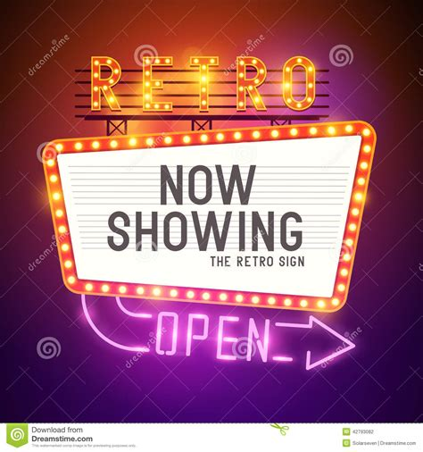 cinema show time retro showtime sign vector stock vector image of premiere