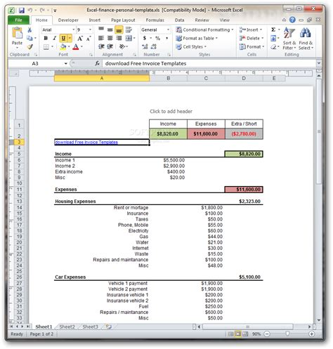 excel finance personal template download