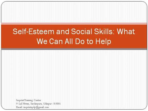 self esteem and social skills authorstream
