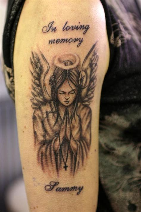 angel tattoos in memory of in loving memory on right half sleeve