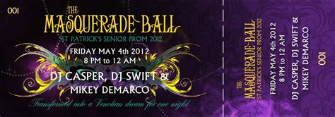 Masquerade Ball Event Ticket Prom Ticket Template Free