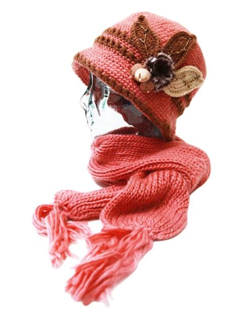 handmade knitted warm fleece lined flower hat and
