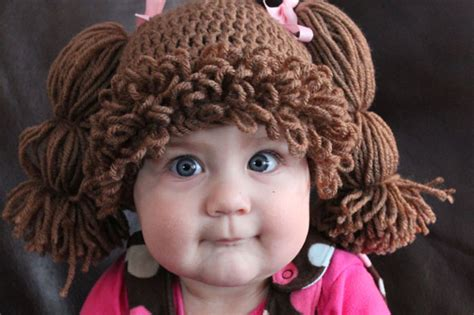 free crochet cabbage patch hair baby hat would you put your baby in a cabbage patch doll wig