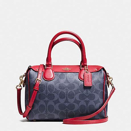 Tas Coach Mini Bennet Denim Original coach f37480 mini satchel in signature denim imitation gold denim coach handbags