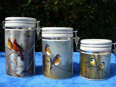 country canisters for kitchen set of 3 kitchen canisters hautman brothers birds country