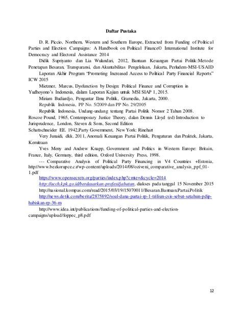 Handbook Partai Politik subsidi negara kepada partai politik