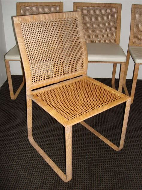 rare harvey probber woven rattan dining chairs   unique collection  antique  modern