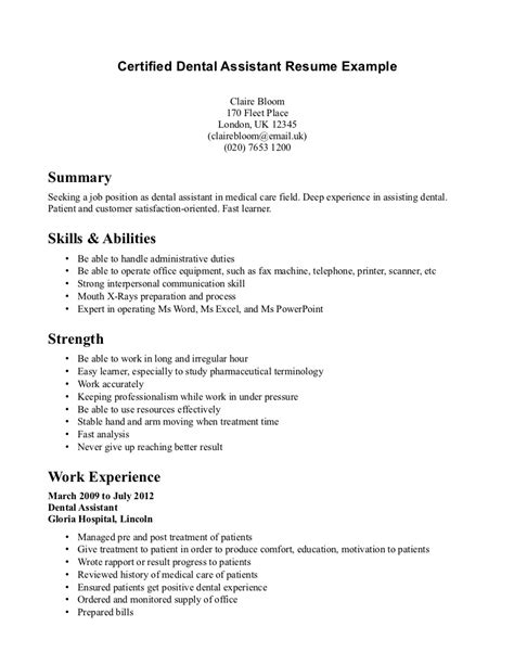 Certified Dental Assistant Resume Dental Assistant Resume Resume Dental