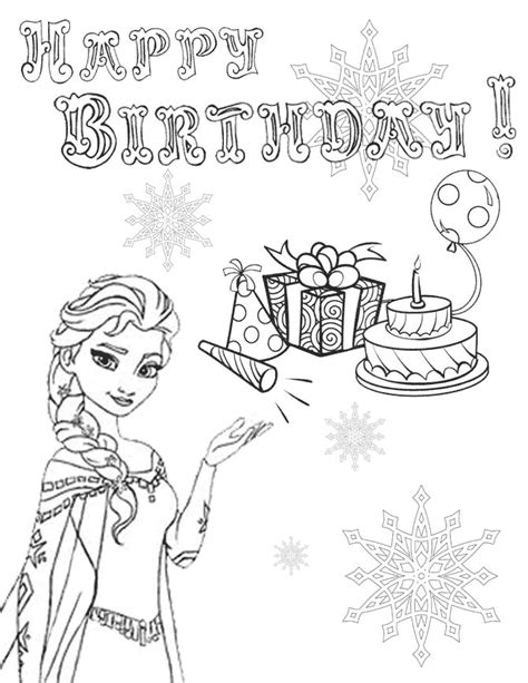 elsa birthday coloring page elsa snowflake presents cake birthday coloring page h