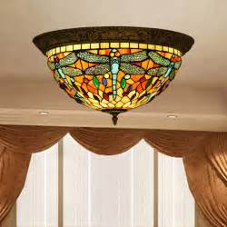 stained glass ceiling lights vintage style stained glass dragonfly ceiling l