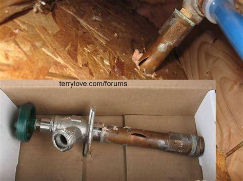 Faucet Repair Kits Frozen Outside Hose Bib Leaks In Wall When Using Hose
