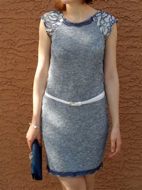 sewing raglan sleeves knitting blue knit raglan sleeve dress with lace sewing projects