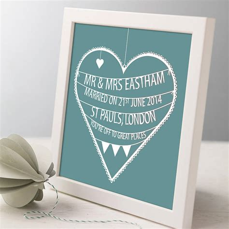 Wedding Gift Not On The High by Personalised Wedding Print By Modo Creative