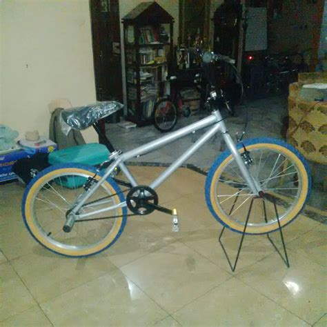 sepeda bmx mc gear bike warna chrome silver new stock