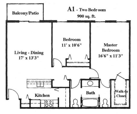 how big is 1000 square feet apartment with 900 square feet