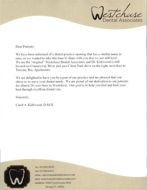 New Patient Welcome Letter Dental Office Westchase Dental Letter To Patients