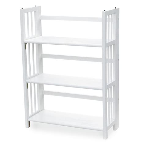 white folding bookcase 3 tier stackable folding bookcase bookcases at hayneedle