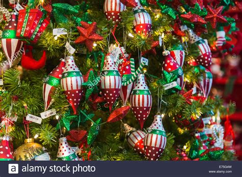 colourful red green and white christmas decorations on a
