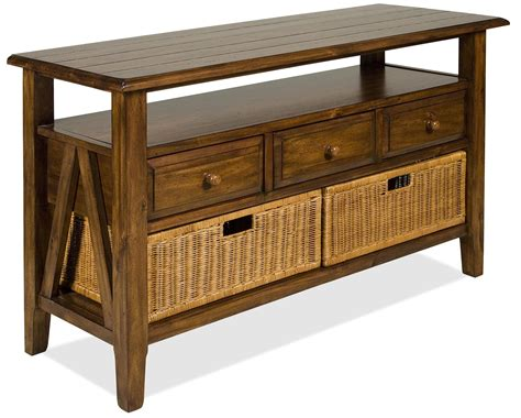 Console Table With Storage Drawers 3 drawer console table with storage baskets by riverside furniture wolf and gardiner wolf