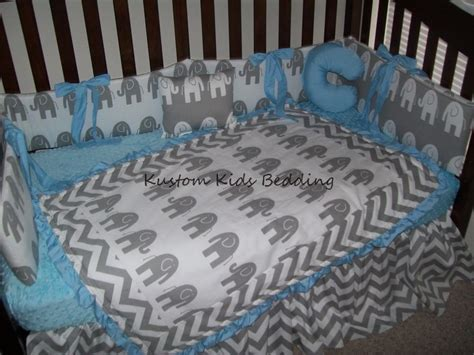 Grey And White Crib Bedding New 7 Chevron And Elephant Grey And White Crib Bedding Set W Aqua Minky Ebay