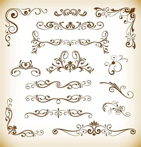 set of design elements vector set of floral vector elements for design free vector