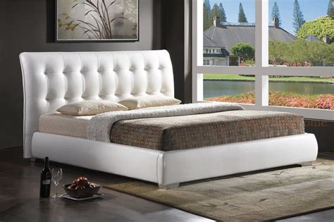 Platform Bed Tufted Headboard by Modern White Faux Leather Tufted Headboard Platform Bed