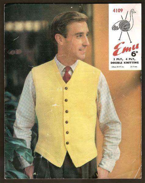 Emu Man s Waistcoat Knitting Pattern 4109 1950s 60s