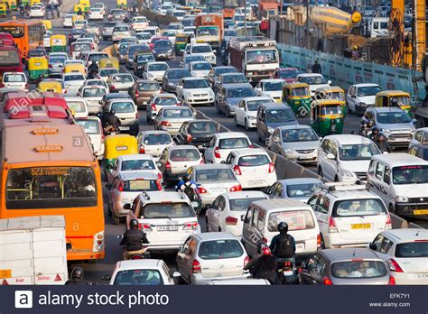 indian car on road cars crowded on the ring road during rush hour traffic in