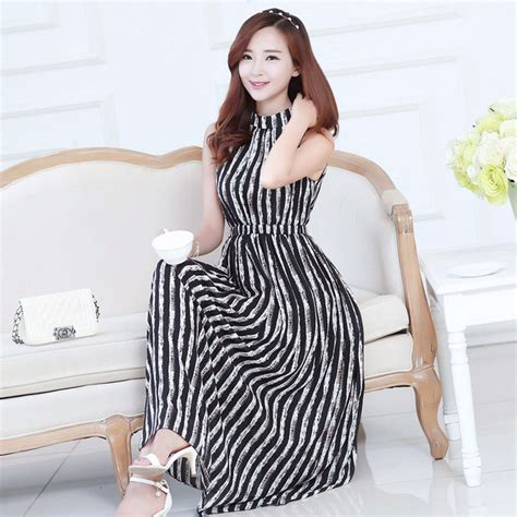 21898 Black Korean Stripe Dress maxi dress korean style slim black and white striped