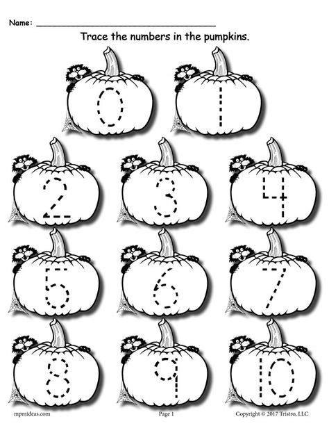 printable pumpkin numbers free printable pumpkin number tracing worksheets 1 20