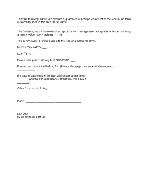 Commitment Declaration Letter www loan commitment form