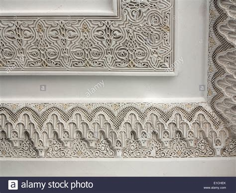 moroccan stucco x moroccan architectural close up detail of carved moroccan cornice plasterwork and