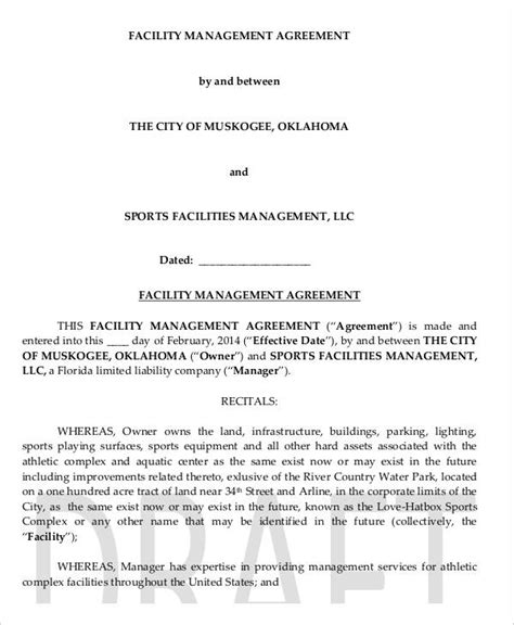 facilities management contract template 9 facility agreement templates free sle exle