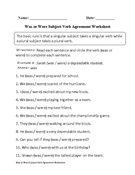 printable worksheets subject verb agreement was or were subject verb agreement worksheet grammer