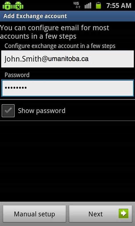 exchange email on android of manitoba information services and technology how to sync an android 2 3 5