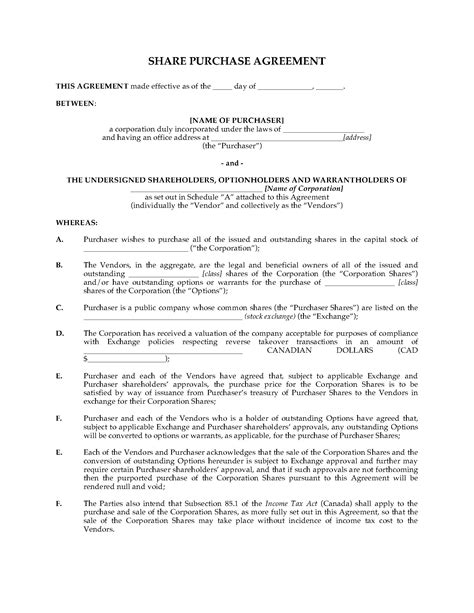 shareholder buyout agreement template alberta purchase agreement for takeover