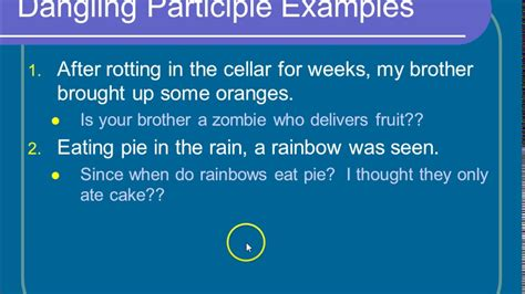 dangling participles youtube