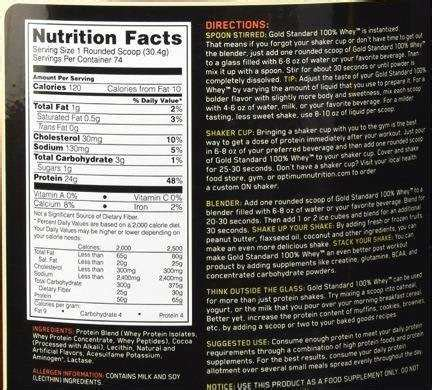 supplement of 30 degrees optimum nutrition whey nutrition label besto