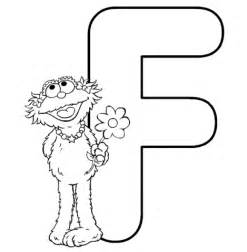 animal muppet with flower and letter f coloring page