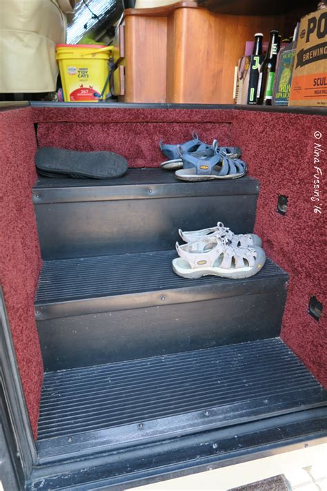rv shoe storage easy rv mod gt shoe storage for 5 wheeling it
