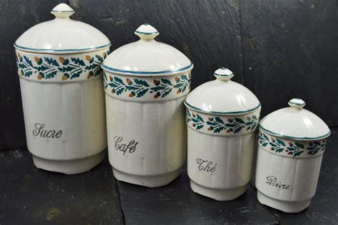 vintage country ceramic kitchen canisters set of 4