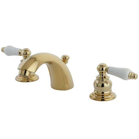 polished brass bathroom faucet elizabethan classics bradsford 4 in minispread 2 handle