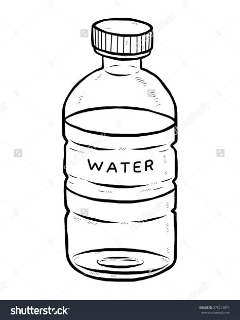 Lettering Water Bottle water bottle clipart black and white letters