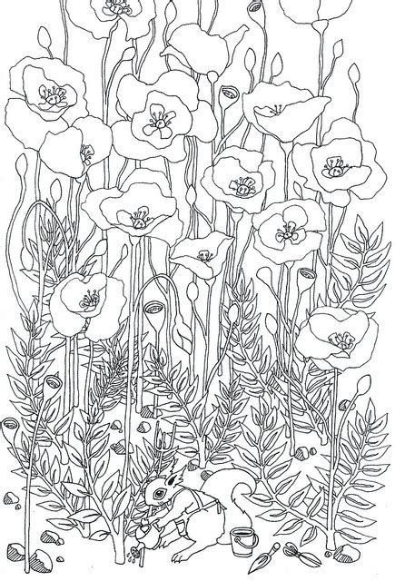 coloring pages field of flowers маковые трафареты