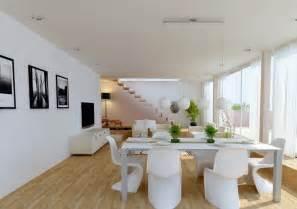 Quelle Couleur Pour Une Salle A Manger #1: am%C3%A9nagement-salon-salle-manger-meubles-blancs-chaises-design-Panton.jpg