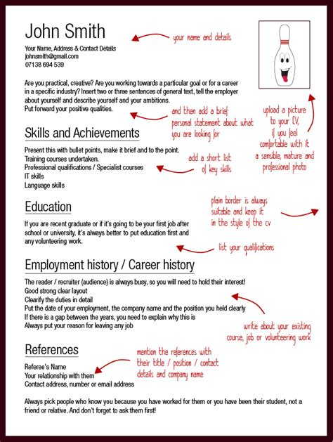 template for a cv cv advice strike