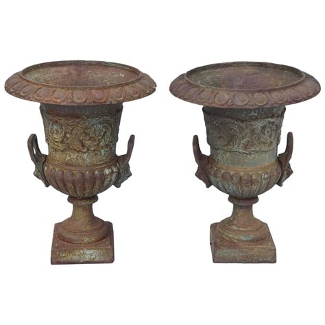 Garden Urns For Sale by Pair Of 19th Century Iron Garden Urns For Sale At