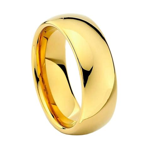 Tungsten Carbide Ring For Classical tungsten carbide wedding band ring classic traditional 8mm yellow gold plated ebay
