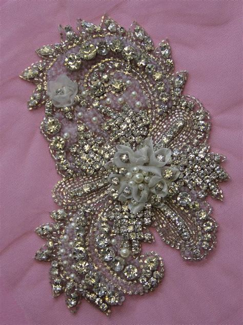 pearl beaded fabric swarovski pearl beaded wedding gown applique